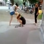 Long-Haired Chinese Gal Issues Sidewalk Beatdown