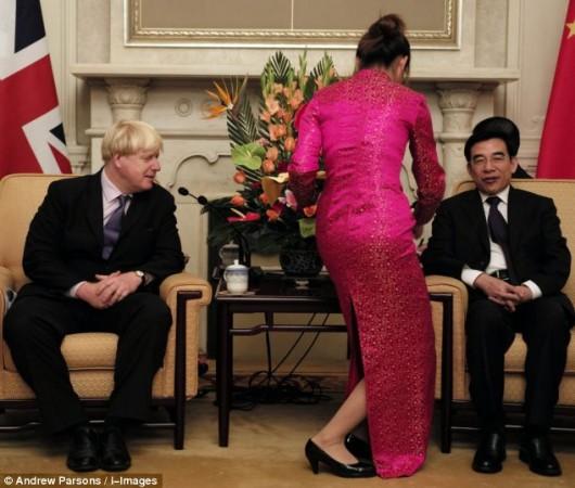 Boris Johnson and tea lady