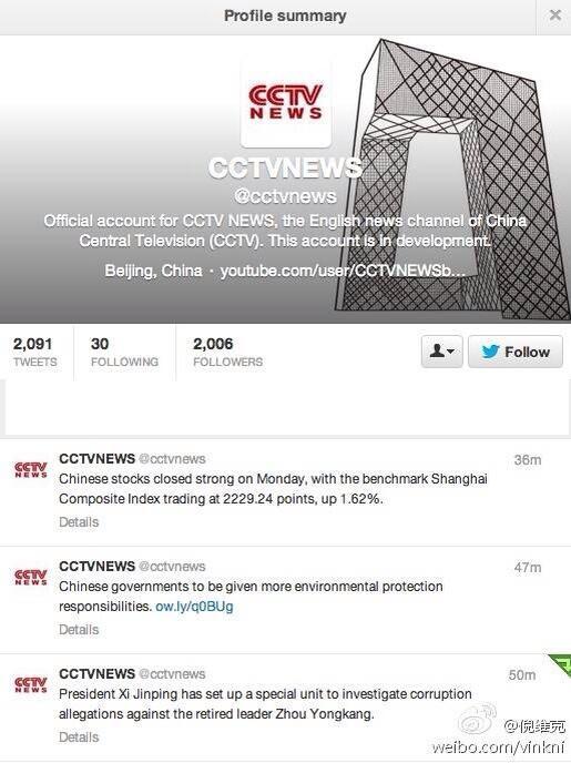 CCTV tweet