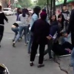 Elderly Woman Knocked Down By Grappling Schoolgirls