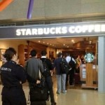Line for Starbucks coffee