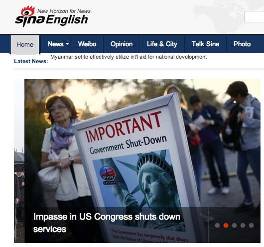 US Congress shutdown as seen in Chinese media