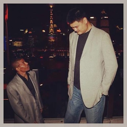 Yao Ming and Muggsy Bogues