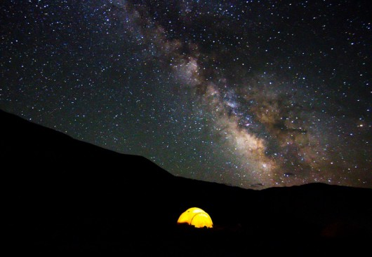 Dispatches from Xinjiang - Milky Way at basecamp 14,500' photo by Bryan Long