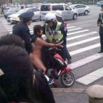 Naked woman in scooter in Shanghai