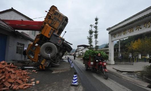 Tree topples crane