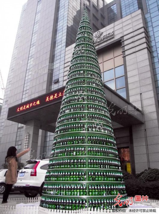 Beer Christmas tree in Changzhou