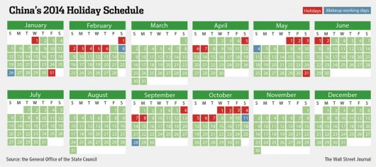 Chinese holiday work schedule 2014