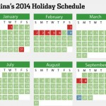 The 2014 Chinese Holiday Work Schedule