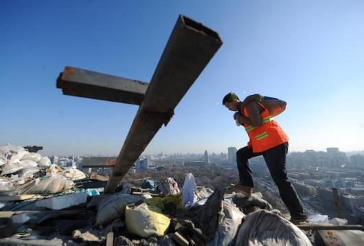 Destruction of rooftop villa