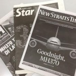 MH370 headlines in black and white