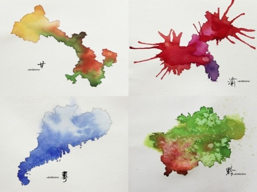 Chinese provinces as watercolors