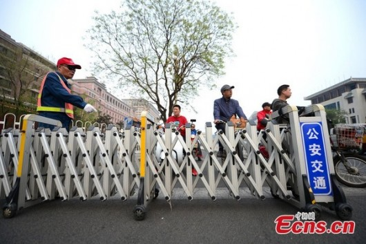 New traffic barriers on Chang'an Avenue in Beijing
