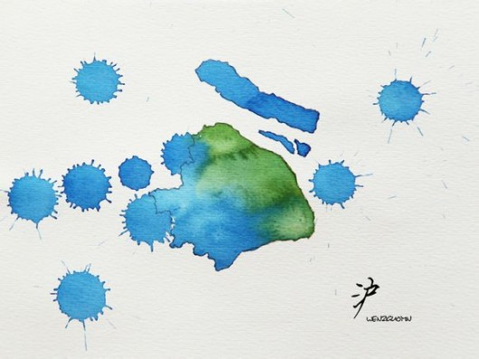 Watercolor provinces - Shanghai