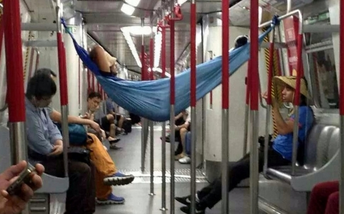 Hong Kong subway hammock
