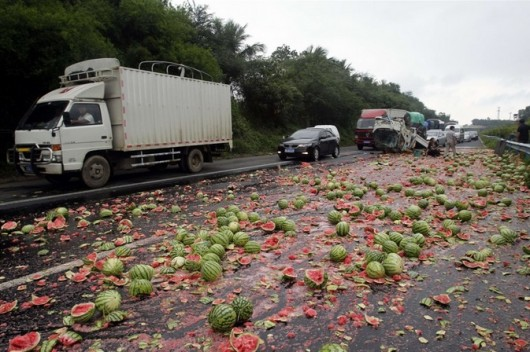 Watermelon truck overturns 3