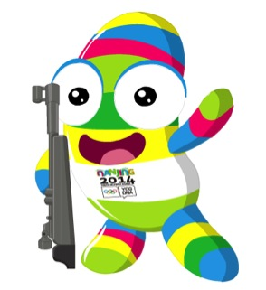 Nanjing Youth Olympics mascot with gun