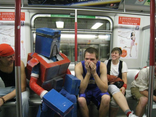 Anthony Tao's homemade Optimus Prime costume in Hong Kong subway