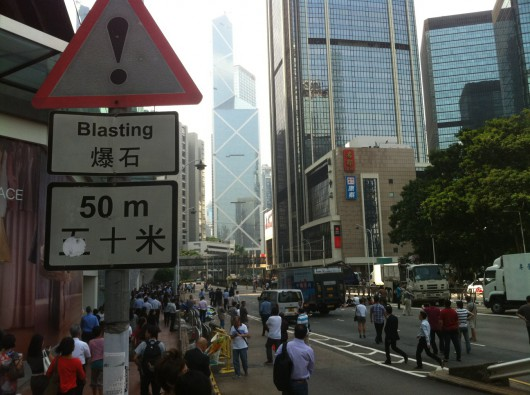 Hong Kong Occupy Central students block road 1
