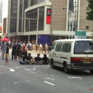 Hong Kong Occupy Central students block road 3