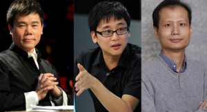 From left to right: Sima Nan, Zhou Xiaoping, and Fang Zhouzi