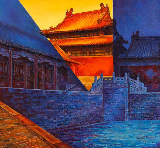Tian Li painting of Beijing 皇城系列(二(2)80x80cm