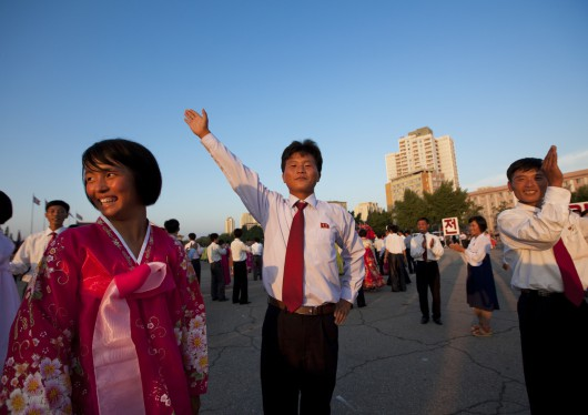 North Korean Students Doing Ballroom Dance On September 9, Pyongyang, North Korea