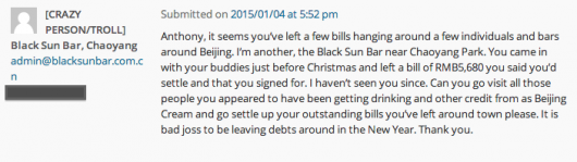 BJC troll comment Black Sun bar