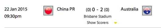 China vs Australia start time