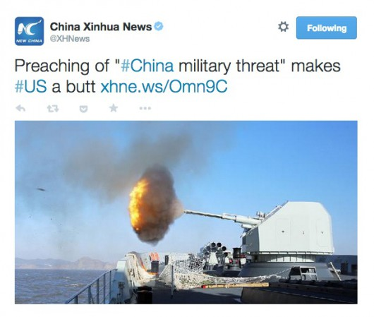 Xinhua tweet US a butt