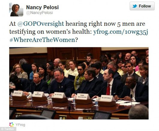 Nancy Pelosi tweet where are the women?