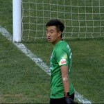 Chongqing goalkeeper after conceding goal